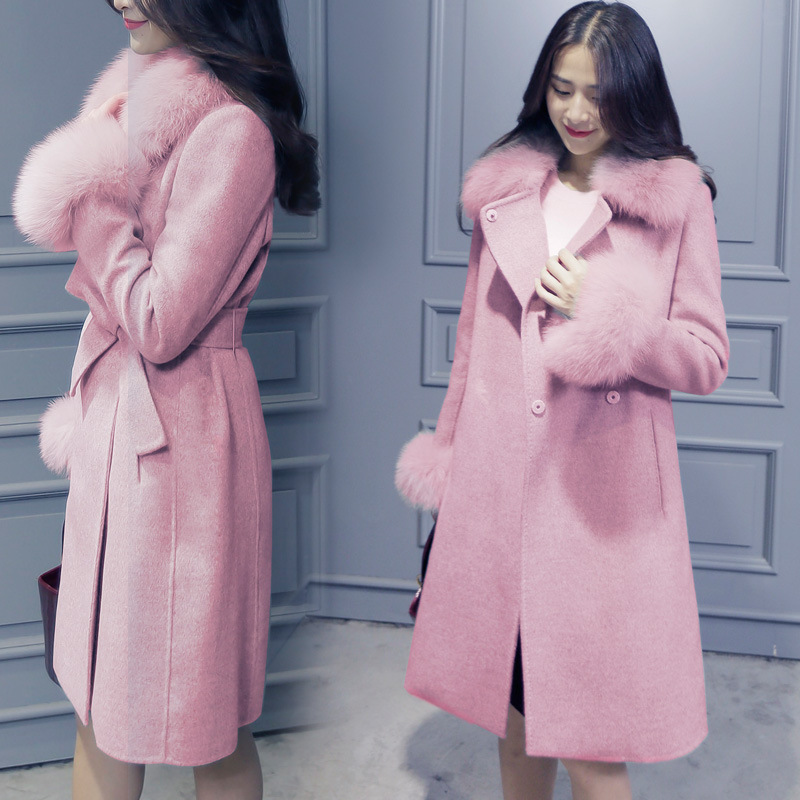 Long Wool Winter Coat Elegant Fashion Collar Fur Collar Wool Blend Coat and Jacket Solid Women Coats Autumn