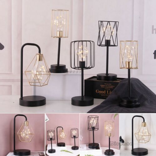 Retro Black Geometric Wire Industrial LED Light Bulb Bed Side Battery Table Lamp