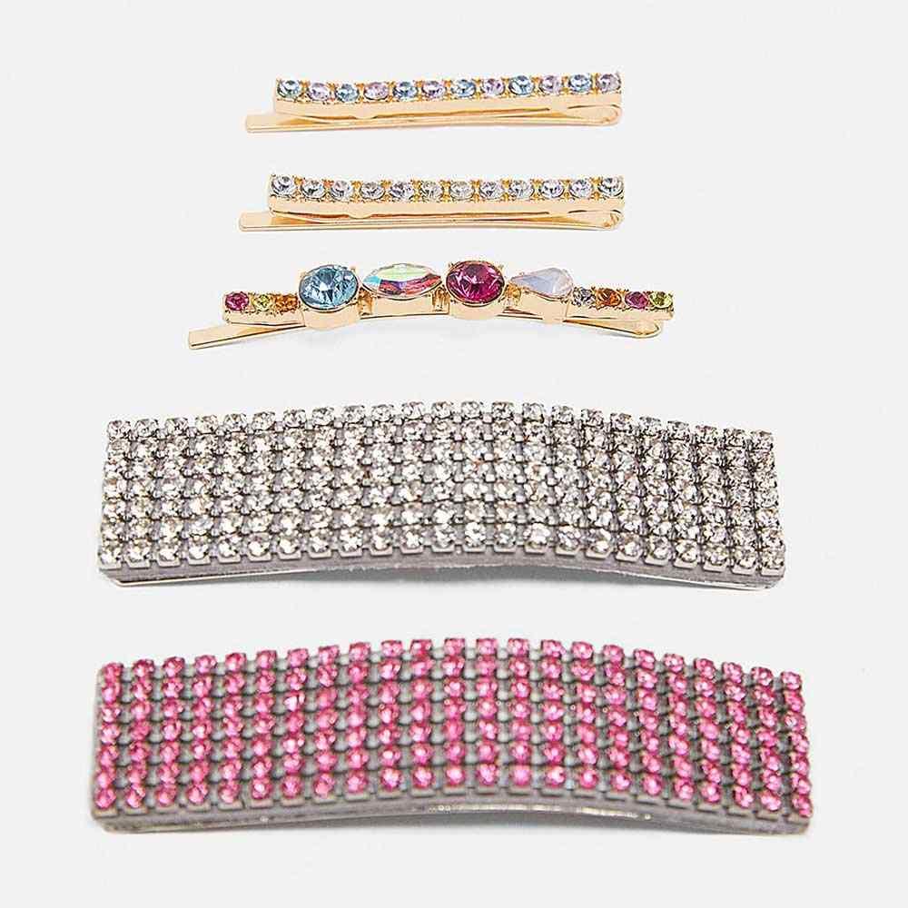 Dvacaman ZA cristal coran bijoux Bling strass Barrettes ensembles pour femmes mariage cheveux accessoires pince à cheveux épingles à cheveux