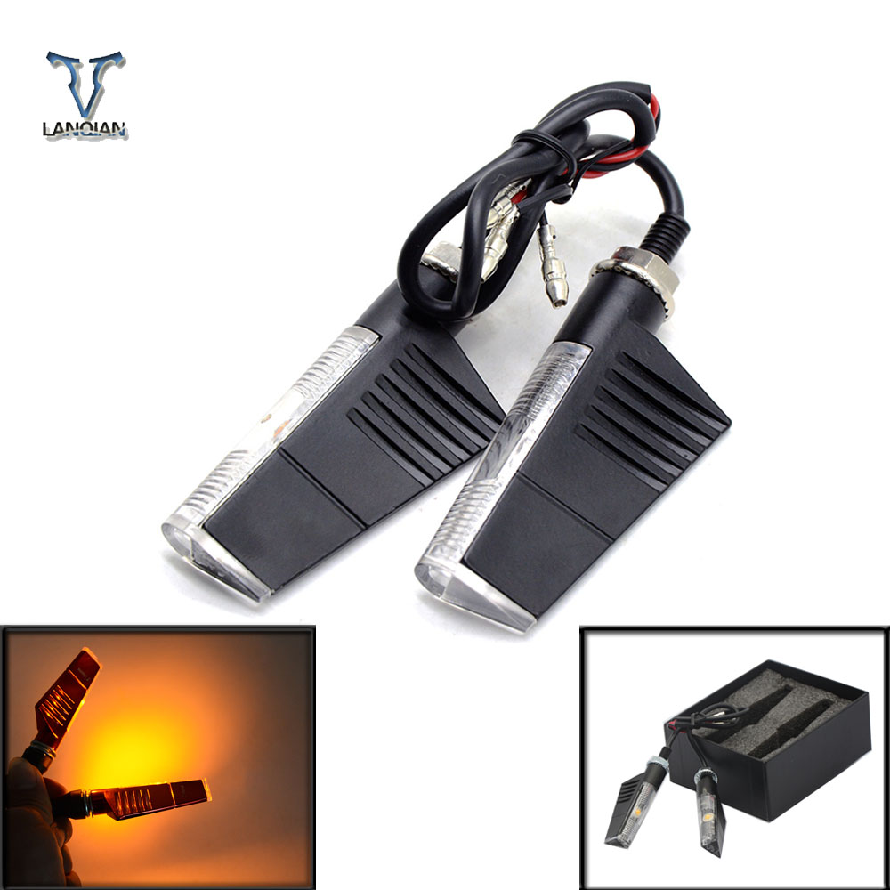 Universal moto Motorcycle Sportster LED Turn Signals Indicators Flashing Blinker for hon ...