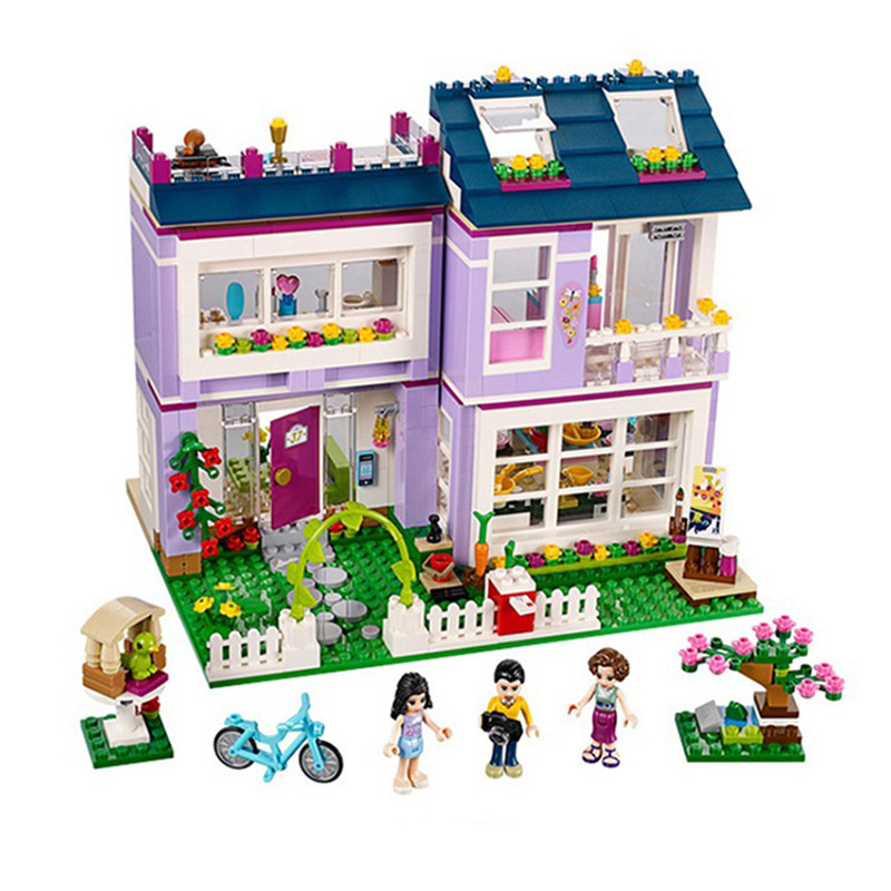 10541 731Pcs Friends Emma's House Model Building Kits Blocks Bricks Girl Toys For Children Compatible With Lepin 10162 friends city park cafe building blocks bricks toys girl game toys for children house gift compatible with lego gift