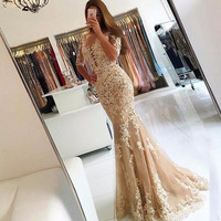 Champagne Mermaid Prom Dresses Long 2019 Lace Applique Half Sleeves Backless Formal Evening Gowns Sheer Scoop Robe De Soiree