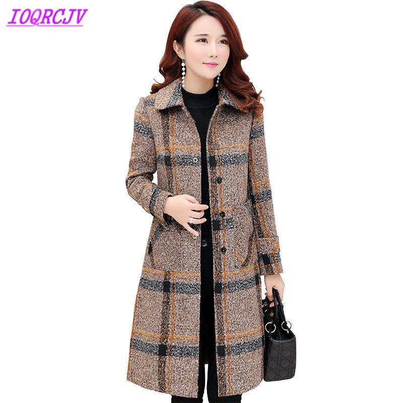 Fashion Thick Warm Plaid Outerwear Boutique Women Fall Winter Woolen Coats Plus size Slim Female Woolen