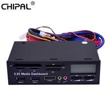 "CHIPAL 5.25 ""미디어 대시 보드 다기능 USB 3.0 전면 패널 3.5mm 오디오 e SATA MS CF TF SD 카드 리더기 (PC 데스크탑 ODD 용)"