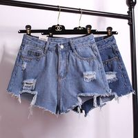 2017Summer Sexy Women's Irregular High Waisted Shorts Fashion Holes Rivets Slim Fit Denim Spring Basic Jeans Shorts High Quality