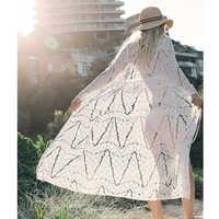 2019 Sexy blanc et noir Crochet Plage couvrir Robe de Plage maillot de bain couvertures dentelle vêtements de Plage tricoté Bikini longue Plage