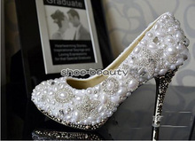 Handmade 10cm Heel White Imitation Pearl Wedding Dress Shoes Sparkling Rhinestone Bridal Shoes Evening Dress Shoe