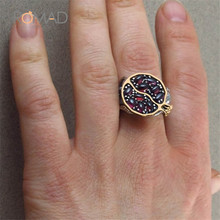 Luxury Vintage Red Crystal  Stone Ring for Women Girls Garnet Pomegranate Big Rhinestone Stone Rings Wedding Jewelry  Z4