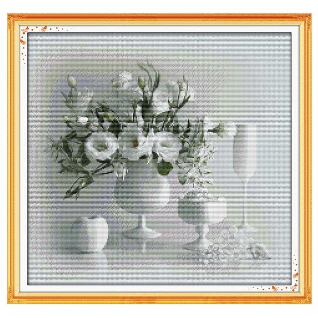 Белый ваза шаблоны Счетный крест 11CT 14CT вышивки крестом Комплекты цветы китайский крестик Наборы Вышивка рукоделие