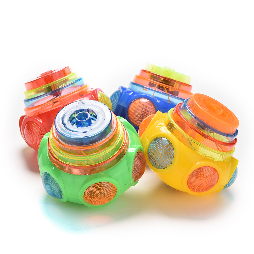 2017 NEW Wholesale 1X Flash Gyro Colorful Light Peg-Top Manual LED   Music Children Kids Toys Gifts Hand  Spinner