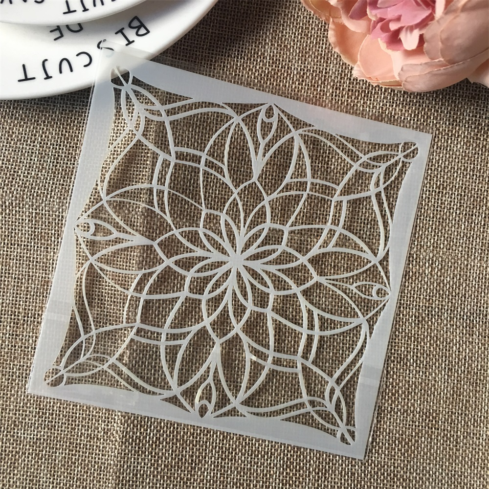 Hot 13cm Geometry Flower DIY Craft Layering Stencils Wall Painting Scrapbooking Stamping Embossing Album Card Template