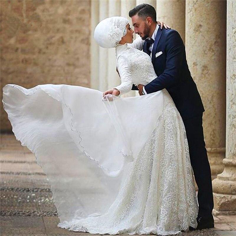 Arab Arabic High Neck Long Sleeve Muslim Wedding Dress With Hijab ...