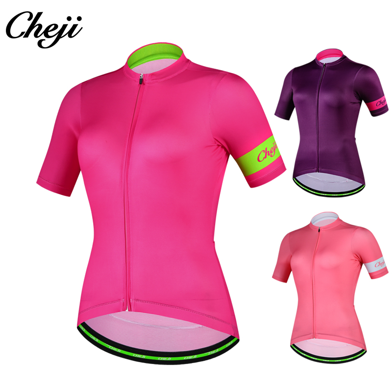 Cheji 2018 Ladies Mtb Bike Shirt Breathable Fast Dry Brief Sleeve Women Biking Put on Ykk Zipper Professional Group Clothes Ciclismo