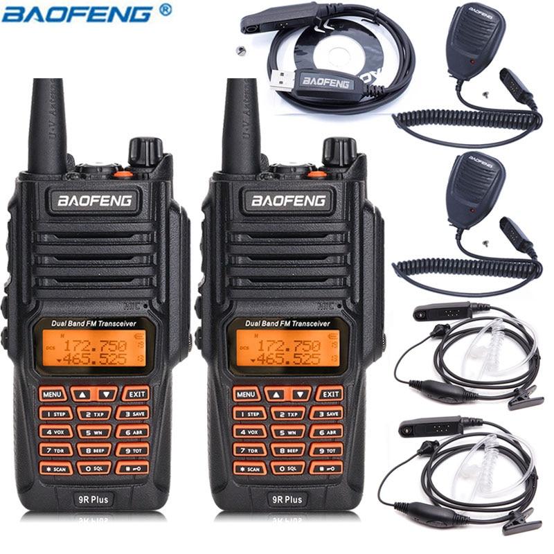 2PCS Baofeng UV 9R Plus 8W High Power IP67 Waterproof Walkie Talkie 1 Programming 2 Speaker