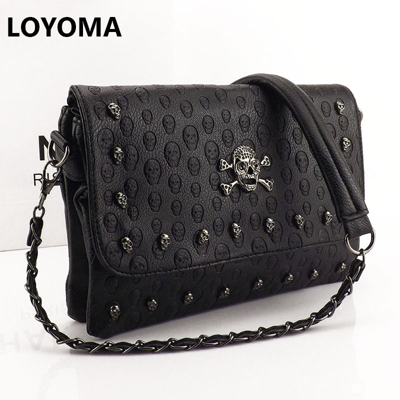 2016 Vintage Fashion Skull Women Messenger Bags Rivet Envelope Mini Clutch Bags Envelope Crossbody Punk Shoulder Bag Sac A Main female brand design women bag fashion rivet messenger bags solid pu leather clutch bag vintage crossbody bag punk women handbag