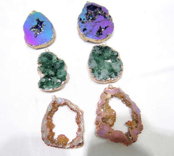 סיטונאי טיטניום קריסטל Druzy קוורץ קוורץ Geode אבן סדיר צורת תליון קריסטל עבור diy תכשיטי ביצוע שרשרת 6 pcs