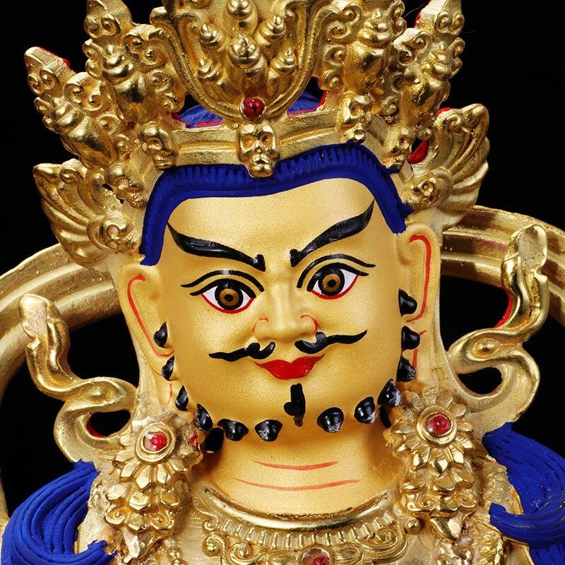 Offre spéciale bouddha de haute qualité 22 CM maison entreprise argent dessin dorure plaqué or jaune Jambhala fortune dieu bouddha statue-in Statues et sculptures from Maison & Animalerie    1