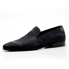 QYFCIOUFU Fashion Loafers Men Dress Shoes Italian Brand Embroidery Flowers Luxury Designer Genuine Leather Casual Shoes Flats