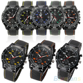 Men's  Black Silicone Band Stainless Steel Sports Analog Quartz Wrist Watch 4PBL