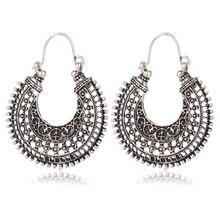 Boho Long Drop Earrings For Women Jewelry Vintage Antique Silver Color Bohemian Ethnic Hollow Tribal Statement Pending Earring