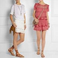Vogain 2015ss Для женщин взлетно посадочной полосы IM Высокая талия эластичный слоистых мини юбка оборками подол короткая юбка пачка