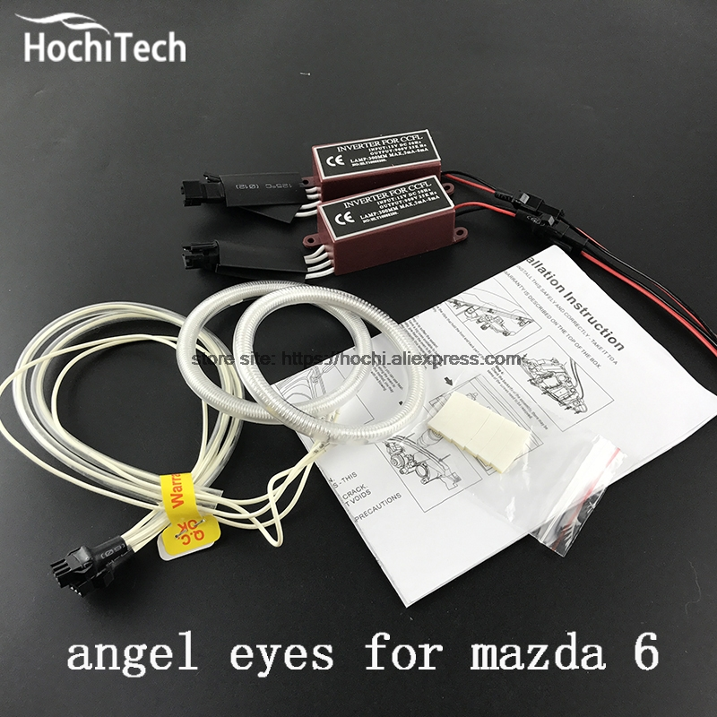 HochiTech WHITE 6000K CCFL Headlight Halo Angel Demon Eyes Kit angel eyes light for mazda 6 2007 2008 2009 2010 2011 2012 hochitech white 6000k ccfl headlight halo angel demon eyes kit angel eyes light for vw volkswagen golf 5 mk5 2003 2009
