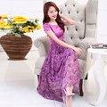 2017 летний новый Корейский большой размер женщин в длинный dress с короткими рукавами Цветочный Принт Шифона dress