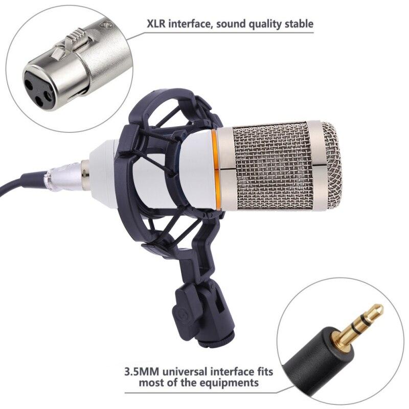 Micro à condensateur professionnel pour ordinateur Audio Studio enregistrement Vocal micro KTV karaoké ensemble de pied de Microphone - 4