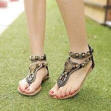 Summer style Vintage flip flops Bohemia fashion women flats shoes women Zipper gladiator sandals sandalias mujer 2016 Q1