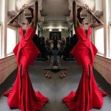סקסי מפלגה שמלות גבוהה סדק robe דה soiree לונג בת ים קפל שמלת ערב כבוי כתף vestido דה festa תחרות שמלות אדום