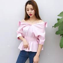 Off Shoulder Tops New Designer Vintage Women Summer Vintage Blouse Peplum Top Cute Sweet Ladies Sexy White Shirts WF995(China)