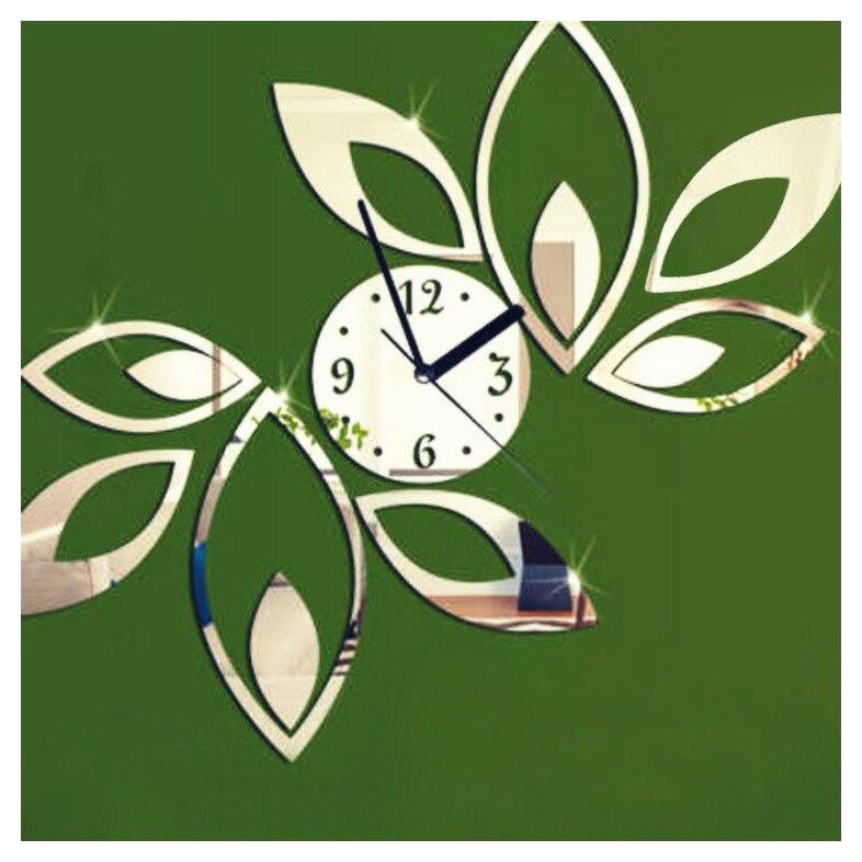 Moden Fashion Flower Sticker DIY Mirror Wall Clock Home Room Art Decoration Work Black