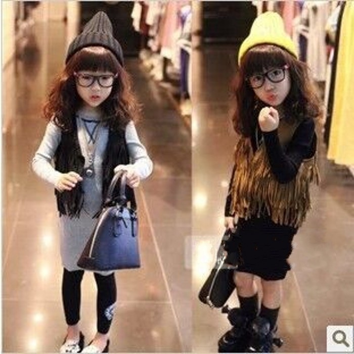 EMS-DHL-Free-Shipping-Kids-Toddler-Girls-Children-s-Khaki-Fringe-Waistcoat-10-pcs-Lot-Autumn