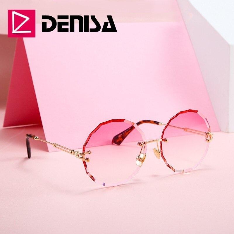 DENISA Vintage rond lunettes de soleil femmes hommes 2019 mode sans monture lunettes rétro rose lunettes de soleil femmes UV400 zonnebril dames G18604