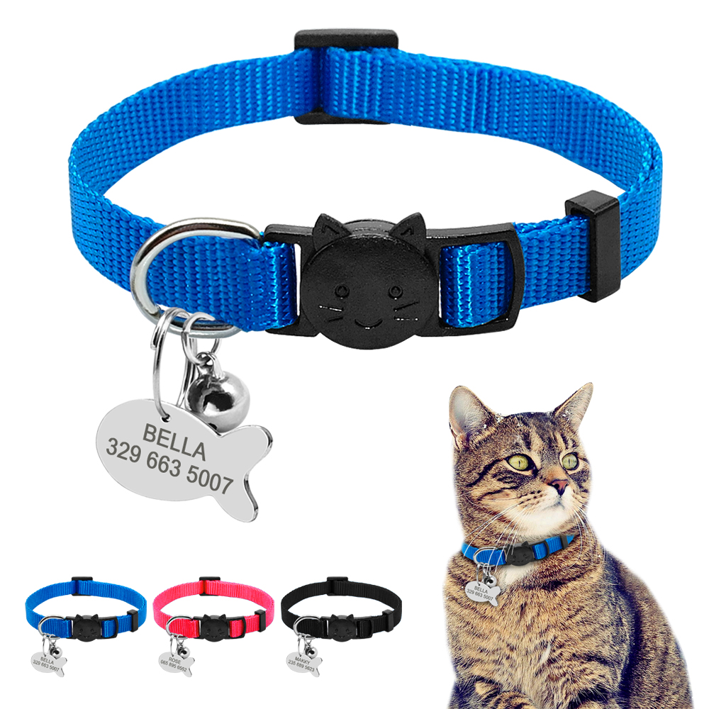 Quick Release Cat Collar Personalized Cats Kitten Breakaway Safety Collar With Engraved Fish Id Tag Name Necklace With Bell