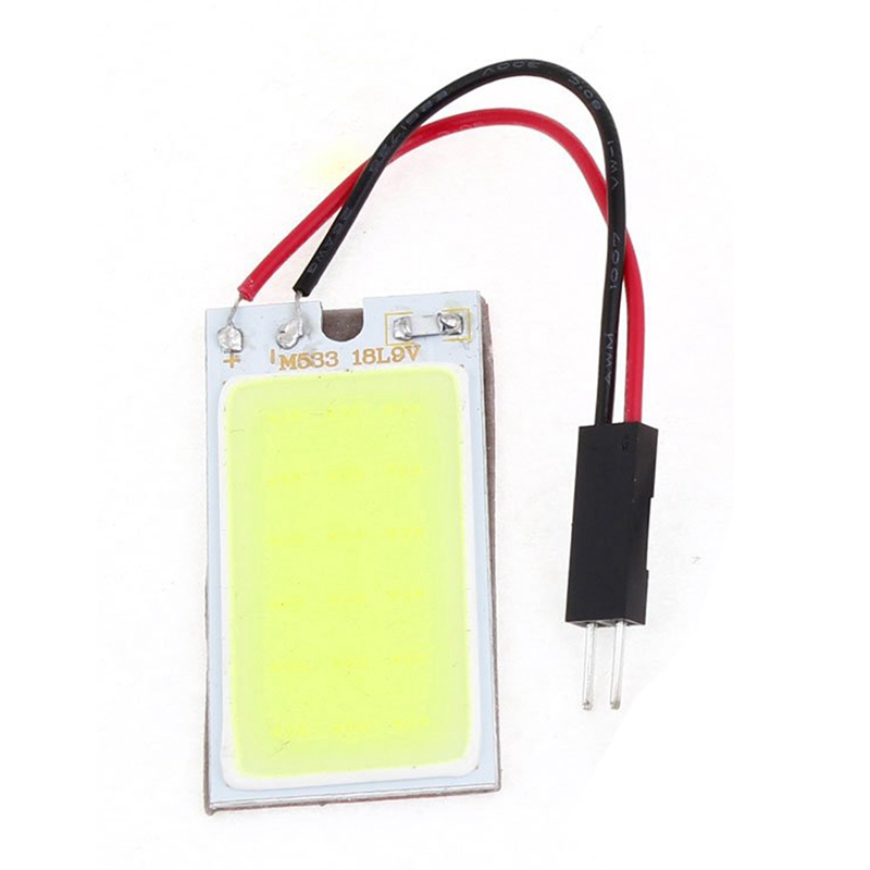 Auto Super Bright White 18 COB LED Light Bulb Panel + T10 Festoon Adapters