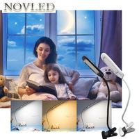 Reading LED Desk Lamp With Clip On Off Switch USB Rechargeable Dimmable Three Color Table Lamp