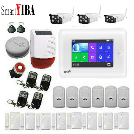 SmartYIBA 4 3 Inch Touch Screen WIFI 3G WCDMA Wireless SOS Home Burglar Security Alarm System