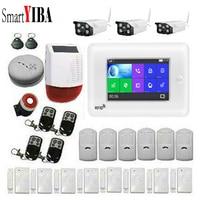 SmartYIBA 4,3 дюймовый сенсорный экран wifi 3g WCDMA Беспроводная SOS домашняя охранная система охранной сигнализации Солнечная электросирена ip видеок