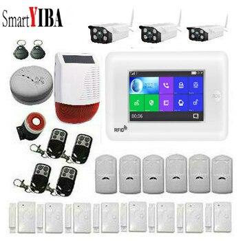SmartYIBA 4.3 inch Touch Screen WIFI 3g WCDMA Draadloze SOS Thuis Inbreker Alarmsysteem Zonne-energie Sirene Video IP Camera