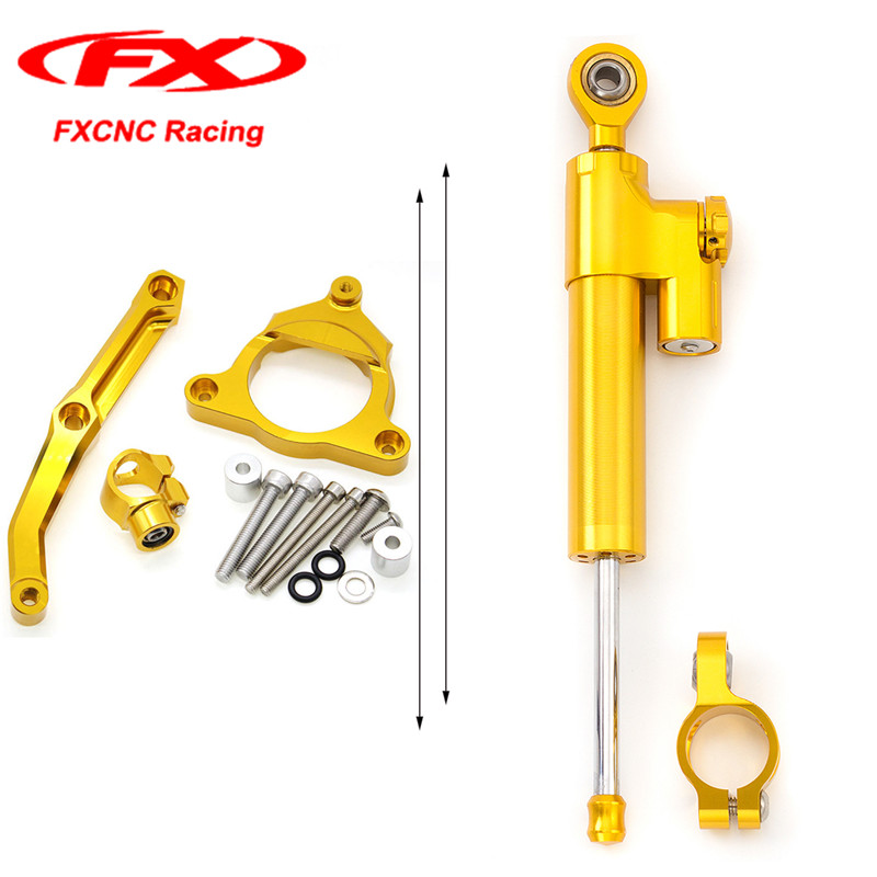 FXCNC for Kawasaki Z800 13-15 Golden Motorcycle Steering Stabilizer Damper with Mounted Kits Brackets 2015 2014 2013 Z-800