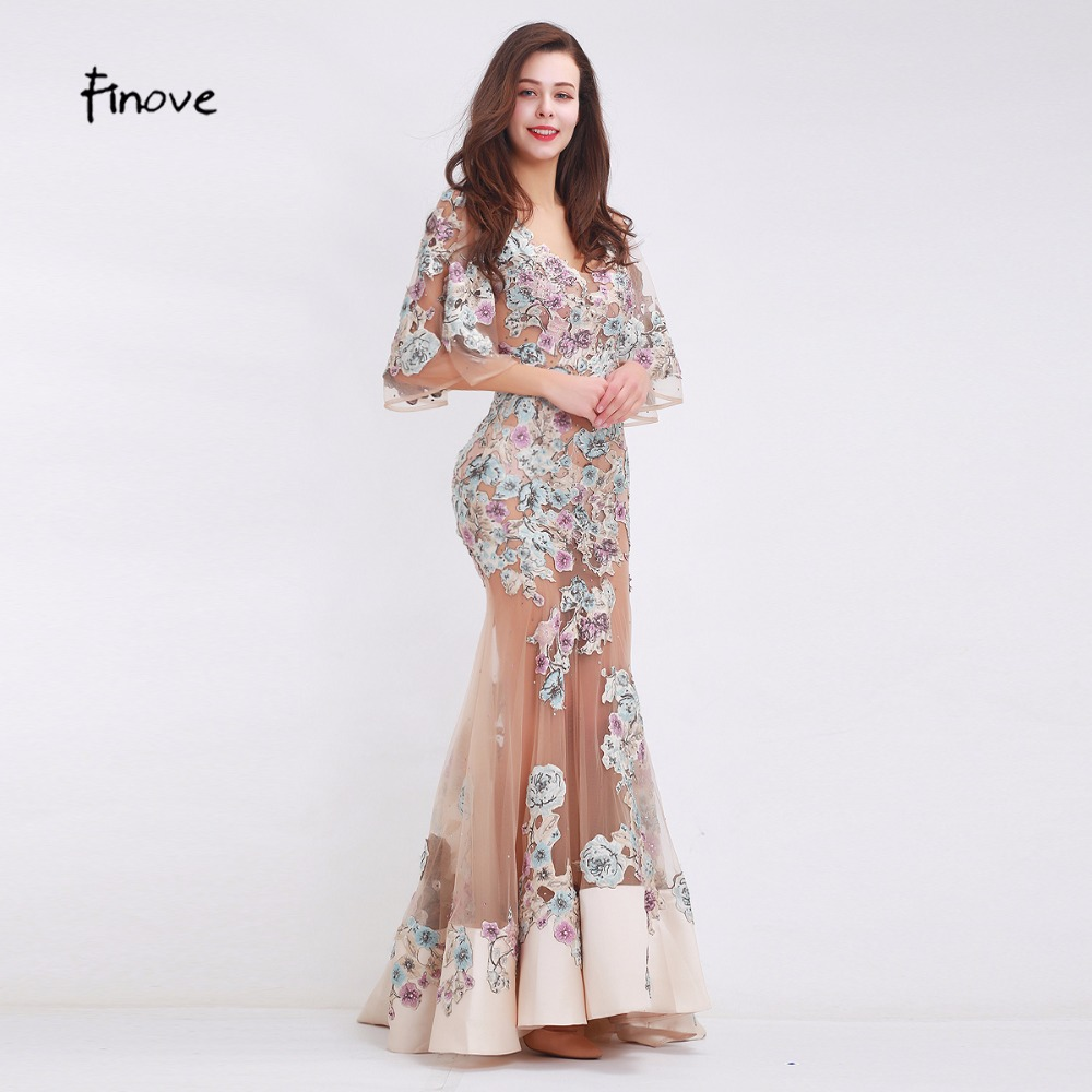 Finove 2019 New Arrivals Beading Appliques Evening Dresses Sexy Big V-Neck Mermaid See Through Tulle Floor Length Long Dresses