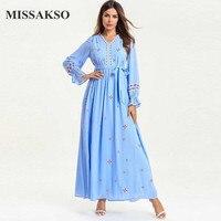 Missakso Luxury Maxi Blue Dresses Long Sleeve Sash Abaya Embroidery Casual Ramadan Pleated Beautiful Spring Autumn Dress Women