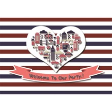 Laeacco Welcome To Our Party Stripe Heart Baby Children Celebration Scene Photo Background Photography Backdrop For Studio