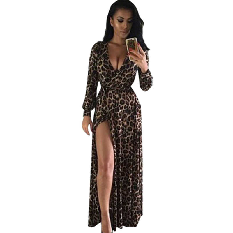 2019 New European dresses for women Sexy Maxi Leopard V-neck Split Long  Sleeve Dress a4234b455