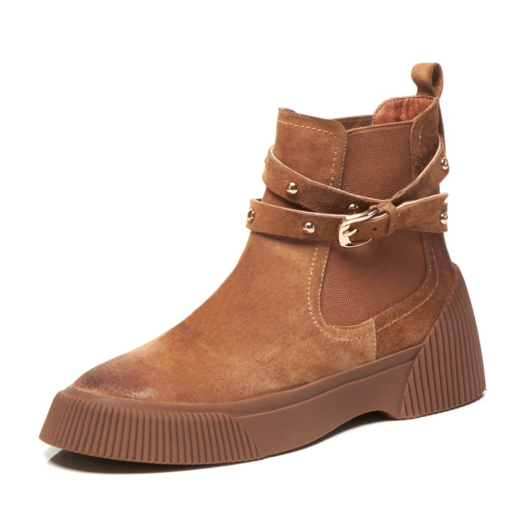 MLJUESE 2019 women ankle boots Pigskin brown color retro winter short plush pointed toe platform flat women Chelsea boots - 5