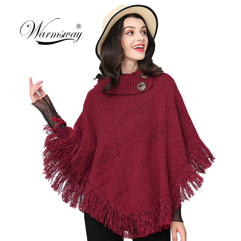 Solid   Scarf   Fall Winter New Tassel Button Hollow Out Shawl Poncho Button Warm Women Loose Elegant Cape   Wrap   C-162