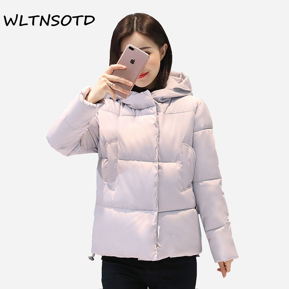 2017 Autumn winter new women short loose hooded parkas thickening fashion cotton warm jacket for female epaulet pattern padded 2017 autumn winter fashion loose casual pattern design bow short thicken cotton long sleeve women parkas jacket