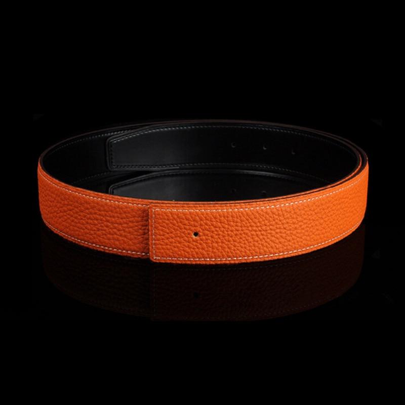 High Quality Leather Men   Belts   Male Black Blue Coffee Orange Camel   Belts   For Women H Buckle Two Sides Female   Belt   Straps