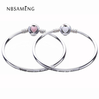 2017 Authentic 925 Sterling Silver Original Moments Loving Heart Clasp Silver Bangle Fit Pan Women Basic